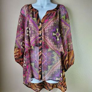 Anthropologie FIG AND FLOWER Tunic Top Boho 2X